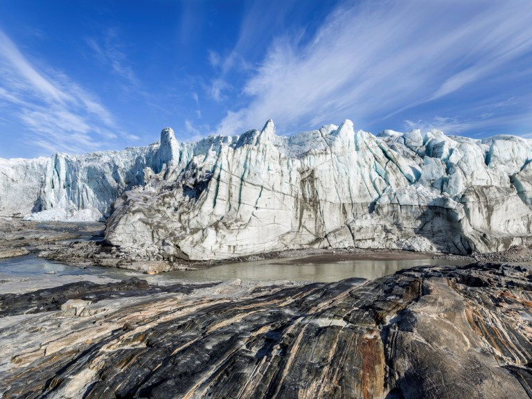 Terminus of the Russell Glacier. Landscape close to the Greenland Ice Sheet near Kangerlussuaq. America. North America. Greenland. Denmark. (Photo by: Martin Zwick/REDA&CO/Universal Images Group via Getty Images)