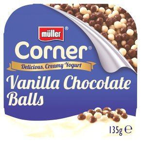 Muller Corner vanilla yoghurt with chocolate balls is 68p in most supermarkets