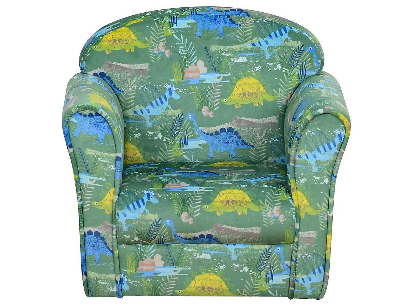 Dunelm is selling a kids armchair featuring colourful dinosaurs