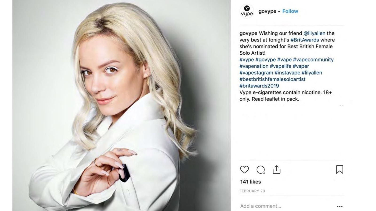 Vaping firm Vype used Lily Allen to promote its e-cigs on Instagram