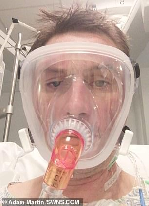 It took around a month for Mr Martin to recover completely from his ordeal (pictured in hospital)