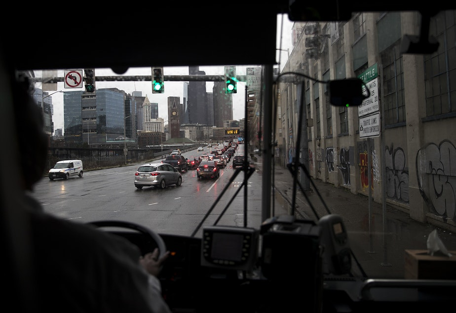 A view of Seattle is shown through the windshield of Sound Transit bus 594 on Wednesday, January 22, 2020.