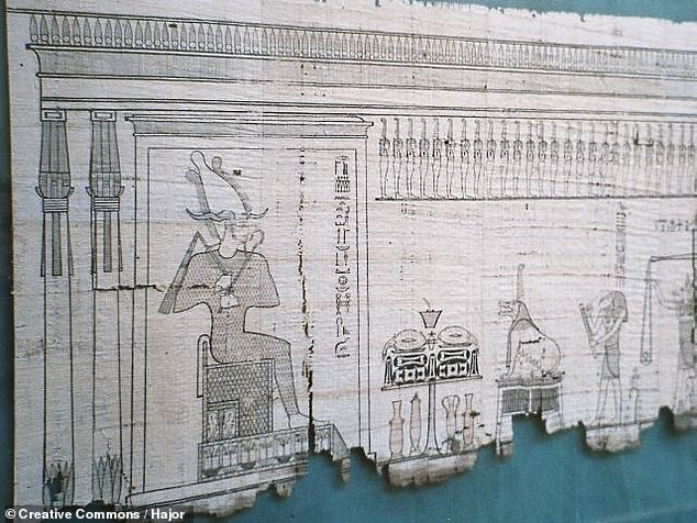 In mythology, Duat is where souls were judged — in the 'weighing of the heart' (pictured) — with those that passed this test allowed to move on towards the heavenly paradise of Aaru, also referred to as the 'Field of Reeds'
