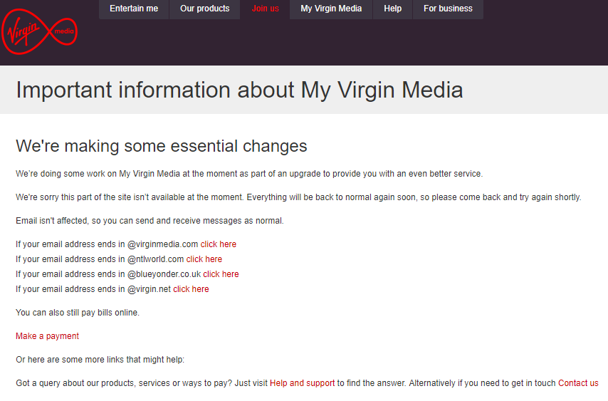 The Virgin Media service update page currently displays this message