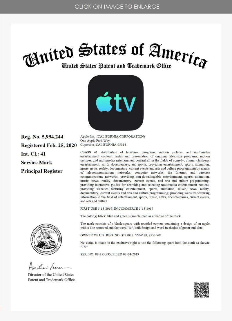 3  Apple TV #2 RTM '243 class 41 Feb 25 2020