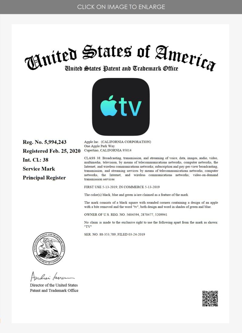 2 Apple TV #1 RTM '243 class 38 Feb 25 2020