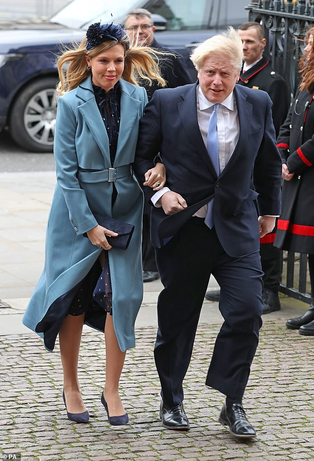 Pregnant Carrie Symonds is in self-isolation after her fiance Boris Johnson fell ill with coronavirus (pictured together on March 9 at Westminster Abbey)