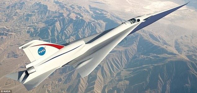 LBFD aims to cut out the noisy sonic booms that echoed above cities in the era of Concorde, while travelling at speeds of 1,100mph (Mach 1.4 / 1,700 km/h). Pictured is an concept design of theQuiet Supersonic Transport (QueSST) low-boom flight demonstrator (LBFD)