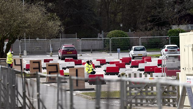 There was little activity at the Chessington coronavirus testing site which was set up as a drive-thru for NHS workers who need to get tested