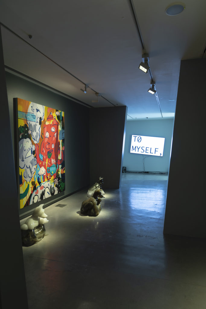 """Installation view, """"Art in the Age of Anxiety,"""" 2020. at the Sharjah Art Foundation. Photo: Danko Stjepanovic."""