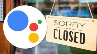A restaurant's closed sign is seen with a Google Assistant logo over