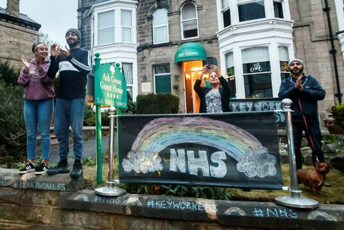 Harrogate residents salute NHS workers during a nationwide clap for carers