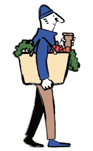 Illustration of man carrying shopping and coffee mug