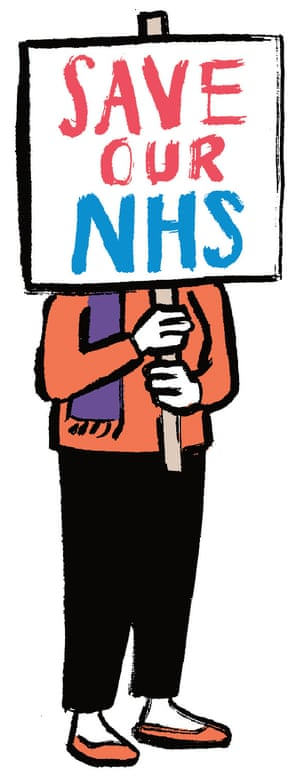Illustration of person holding Save Our NHS poster