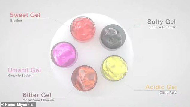 Norimaki Synthesizer uses five gels made of electrolytes that correspond with the five tastes a tongue can distinguish – salt, acidic, bitter, sweet and umami, or savory