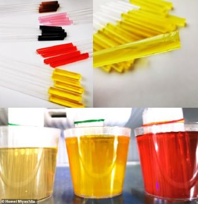 The team used dissolved electrolytes in a small amount of water to create a highly concentrated solution (bottom).Agar, a vegetable-based gelatin, was then added to the mixture and inserted into a tube where it would form into a gel (top)