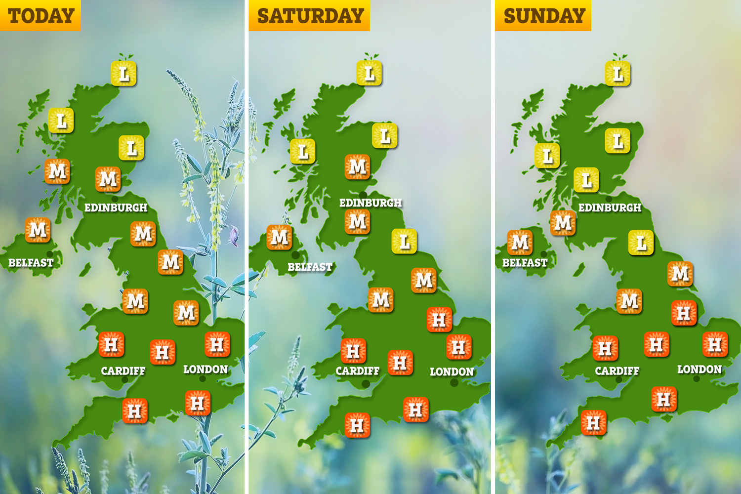 The Met Office has warned of high grass pollen levels across the south of England and Midlands