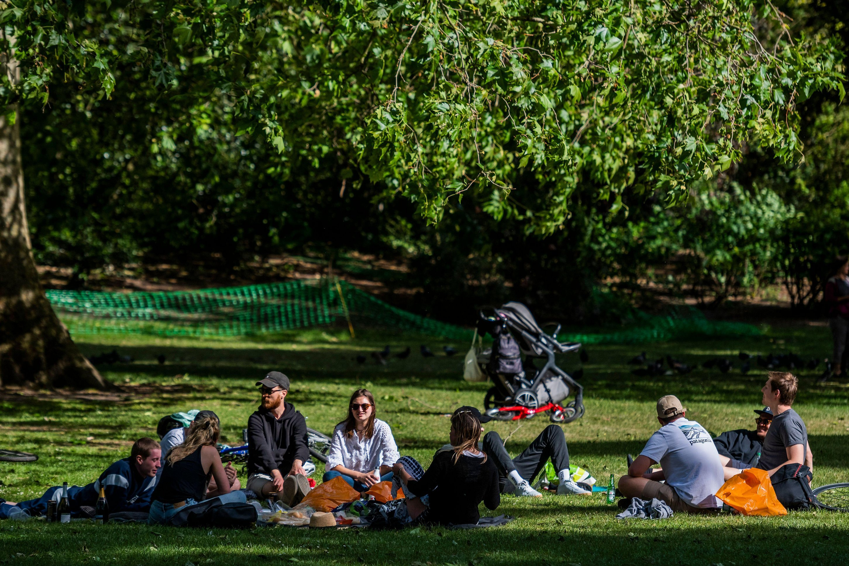 Londoners enjoying the sun in St James Park