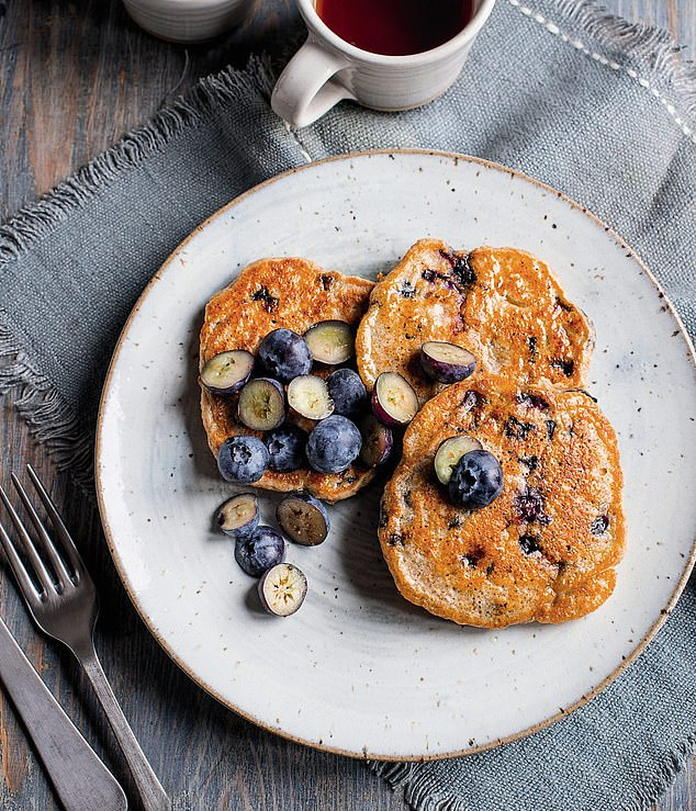 This delicious blueberry pancake recipe is a healthy weekend treat that can be garnished with the remaining berries