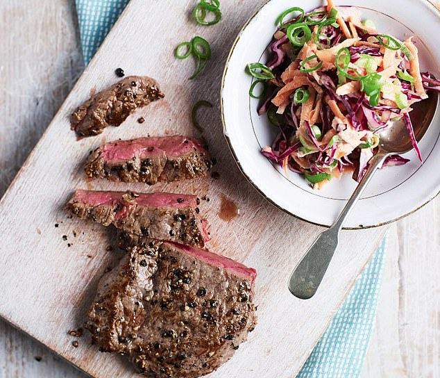 This steak and crunchy coleslaw dish is a healthy and nutritious meal that can be served with nuts or feta