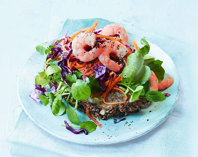 This delicious prawns and red cabbage on sourdough meal is a tasty dish that is best served with black pepper