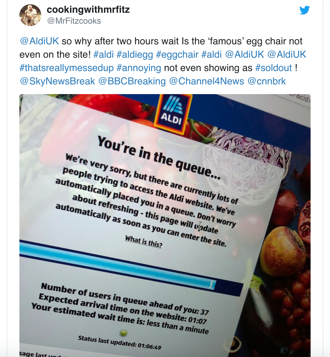 Aldi shoppers have been left disappointed after its famous egg chair quickly sold out this morning