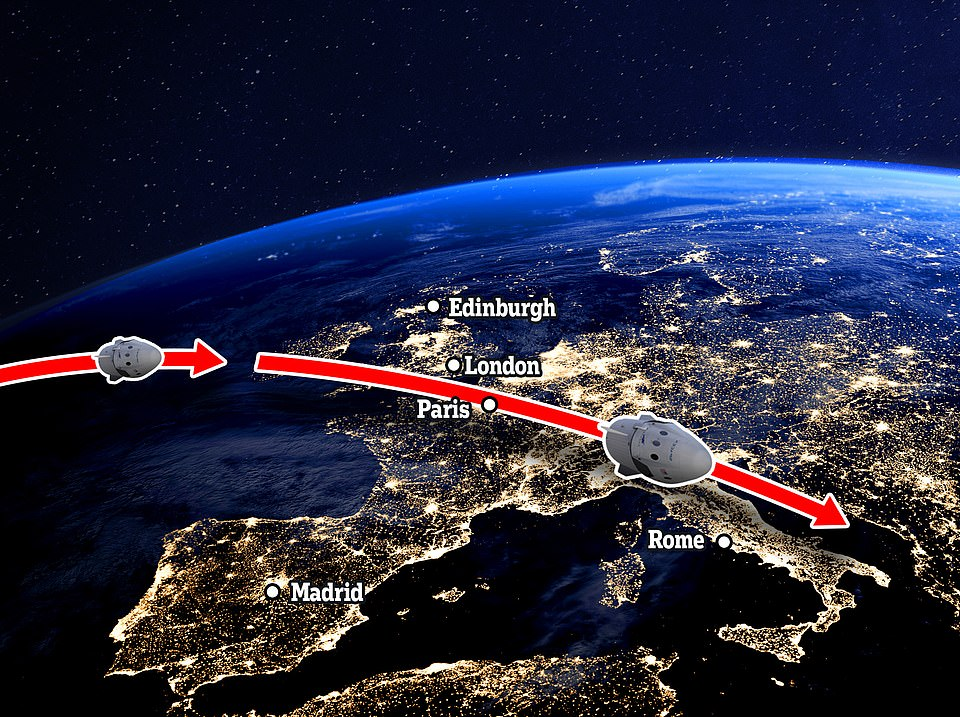 The route the spacecraft is expected to take over Europe is pictured above. It will be visible in the south-western part of the British night sky at about 10.15pm UK time, following the launch from Florida about two hours beforehand