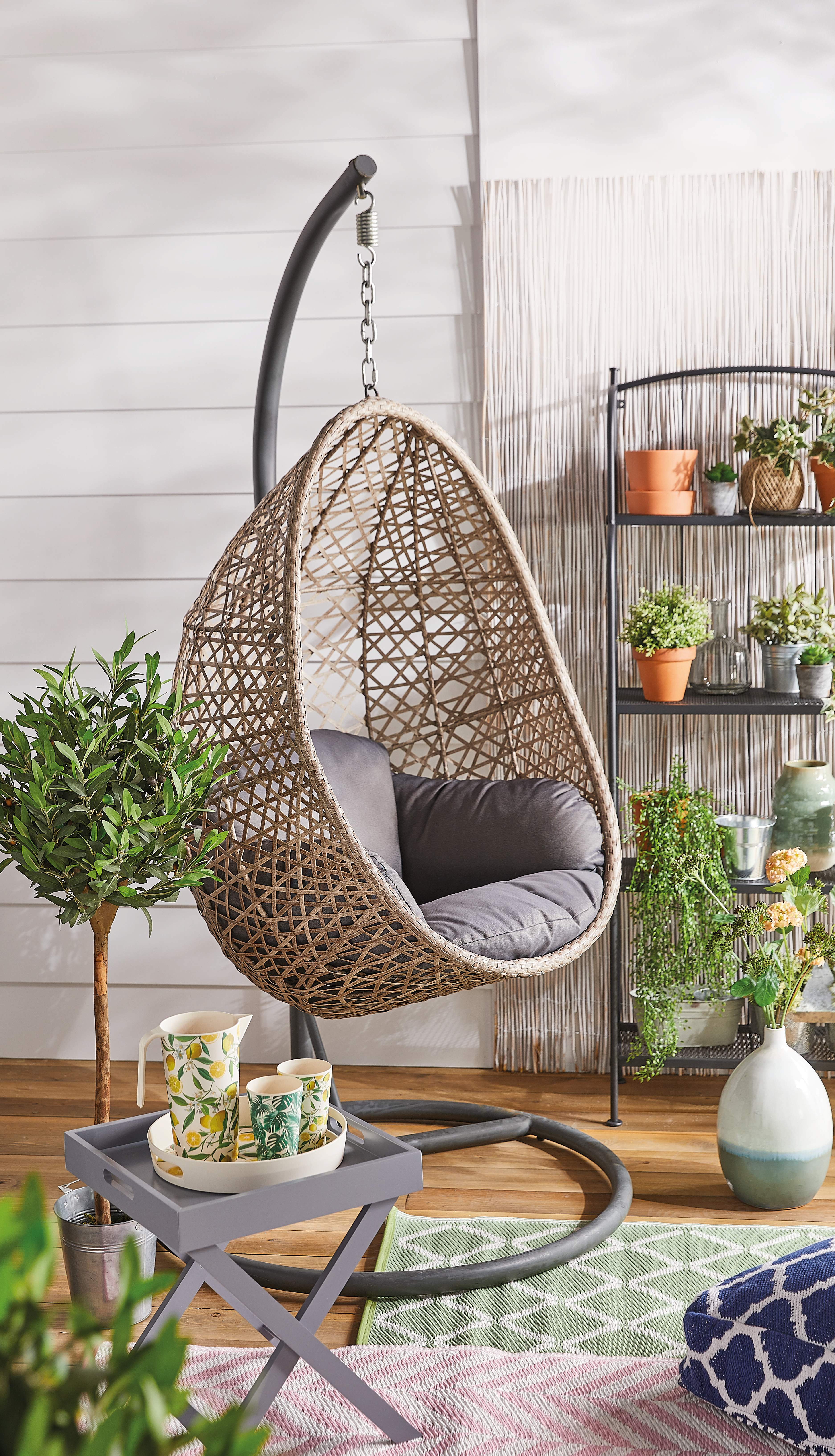 Hanging egg chairs (Aldi's version pictured) are hugely popular with celeb fans including Mrs Hinch and Stacey Solomon