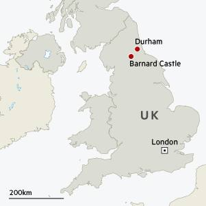 Map showing locations of London, Barnard Castle and Durham in UK