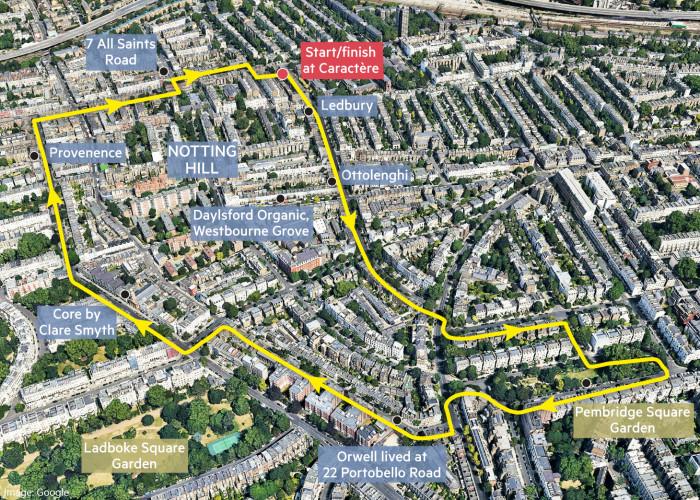 Globetrotter neighbourhood walk map of Notting Hill, London