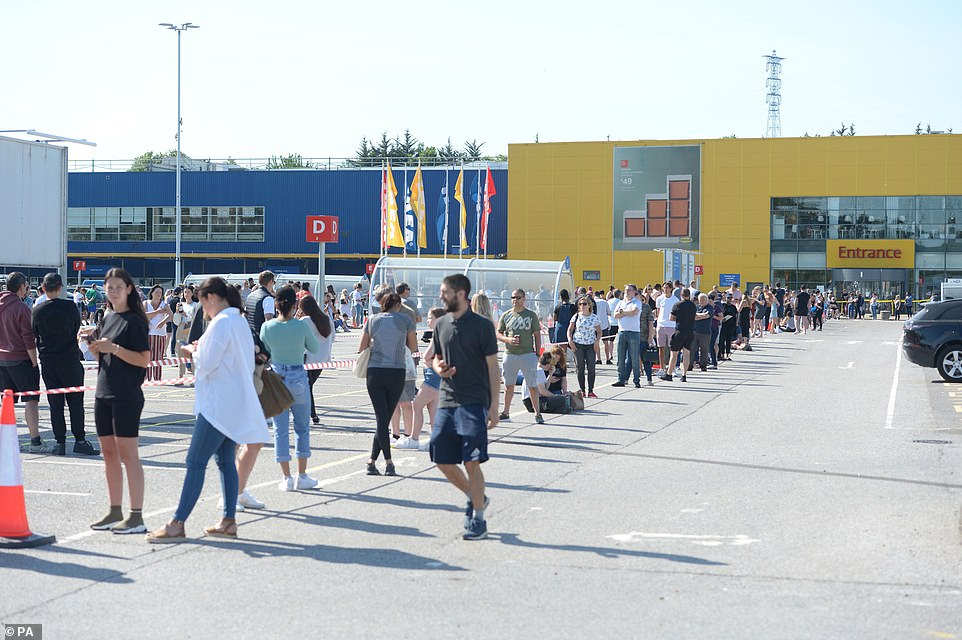 Essex: People queuing today at the Ikea store in Lakeside, Thurrock, which has reopened as part of a wider easing of lockdown restrictions in England