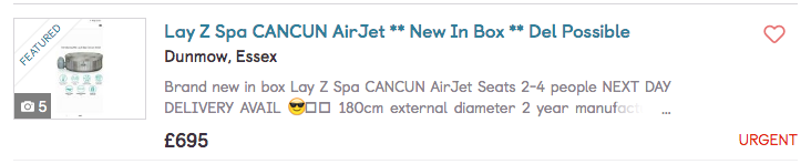 The Cancun hot tub is meanwhile £650 to £695 on the two different websites