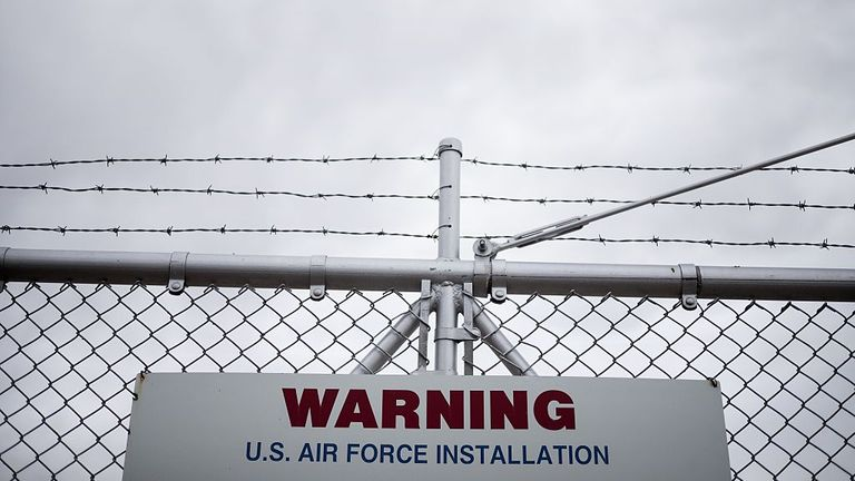 A warning sign is seen along the perimeter of a deactivated Titan II complex at the Titan Missile on May 12, 2015 in Green Valley, Arizona. The museum is located in a preserved Titan II ICBM launch complex and is devoted to educating visitors about the Cold War and the Titan II missile's contribution as a nuclear deterrent. AFP PHOTO/BRENDAN SMIALOWSKI (Photo credit should read BRENDAN SMIALOWSKI/AFP via Getty Images)