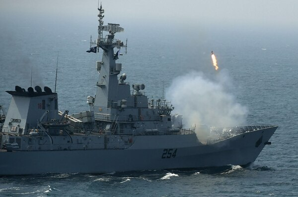 Pakistan Navy ship Aslat fires rounds during the multinational naval exercise AMAN-19 in the Arabian Sea near Pakistan's port city of Karachi on Feb. 11, 2019. (Asif Hassan/AFP via Getty Images)