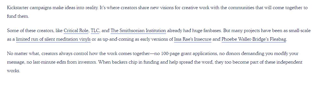 Kickstarter via Homepage