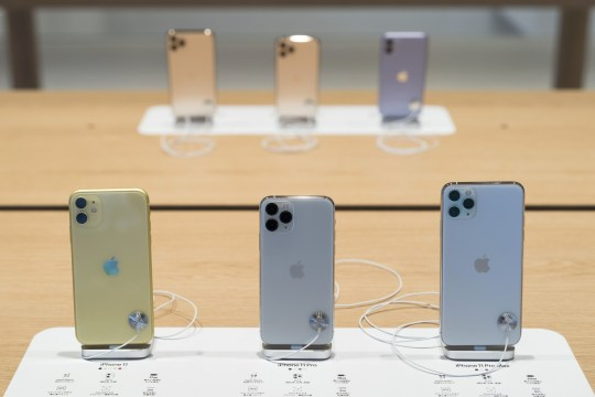 TOKYO, JAPAN - SEPTEMBER 20: Apple Inc.'s iPhone 11, iPhone11 Pro and iPhone 11 Pro Max smartphones are displayed in the Apple Marunouchi store on September 20, 2019 in Tokyo, Japan. Apple launched the latest iPhone 11 models featuring a dual-camera system today. (Photo by Tomohiro Ohsumi/Getty Images)