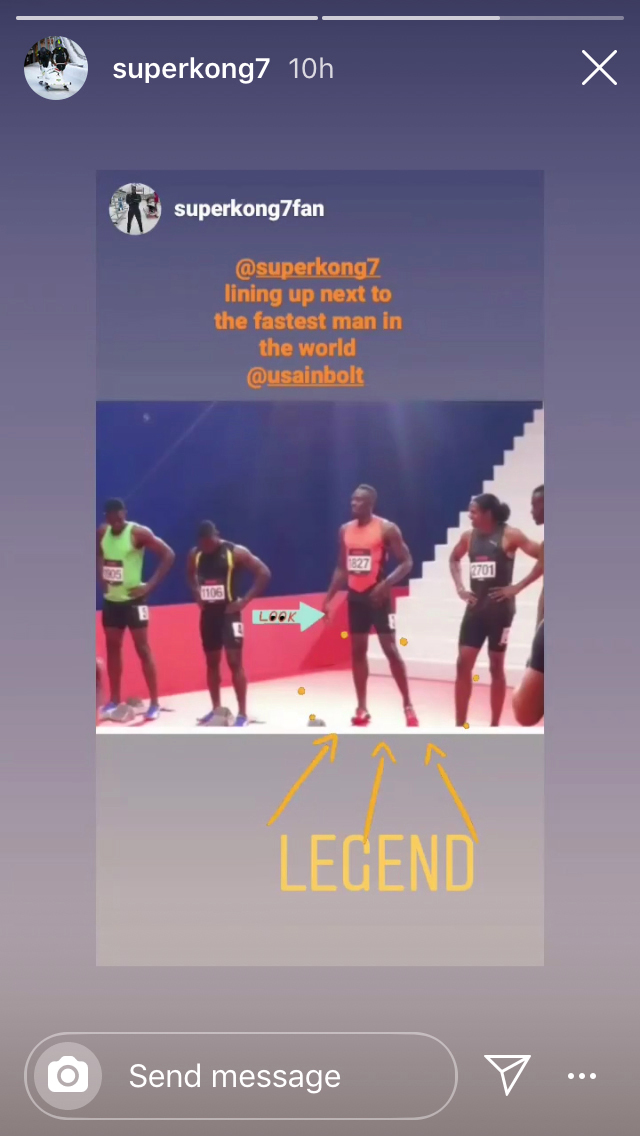 Nimroy's Instagram post about filming with Usain Bolt