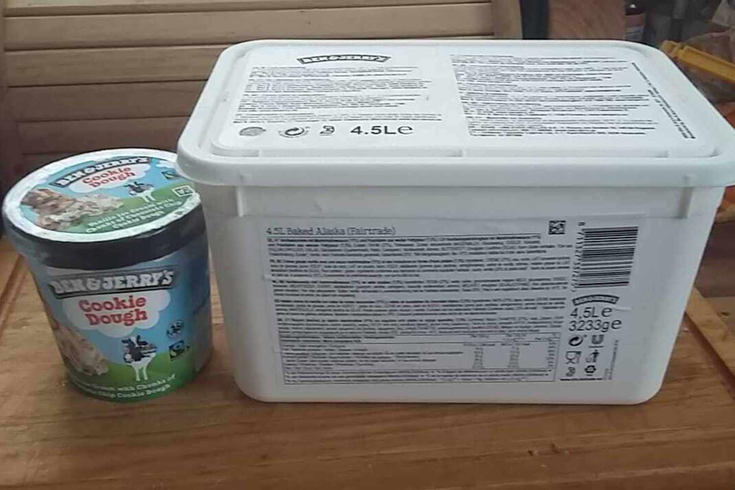The tubs of ice cream are almost 10 times bigger than a normal tub