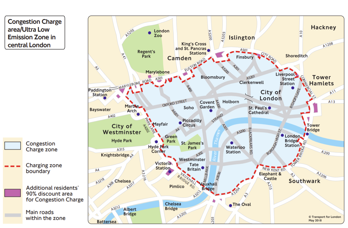 Above: the Congestion Charge zone in London