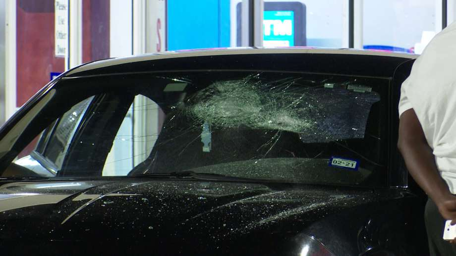 A Houston police officer was hit by a car Saturday as the driver of the vehicle was fleeing a fight in a gas station parking lot, police said. Photo: On Scene
