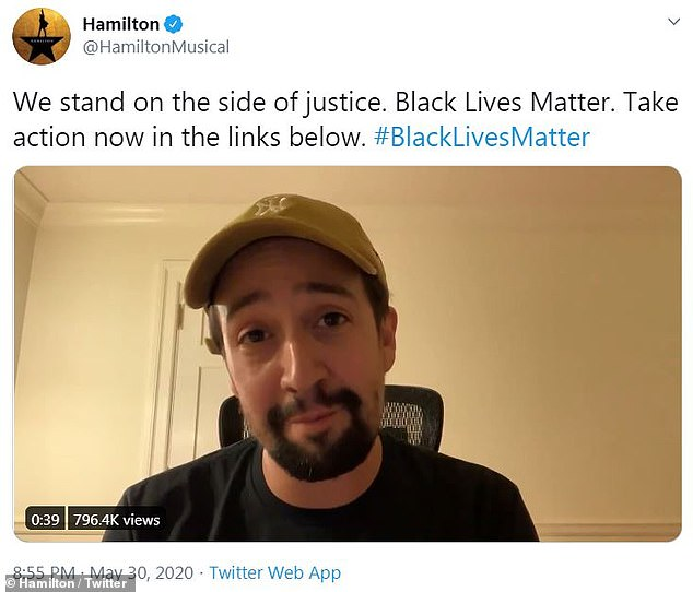 Lin-Manuel Miranda, 40, issued an apology to fans of Hamilton for the Broadway show's failure to publicly denounce systemic racism sooner
