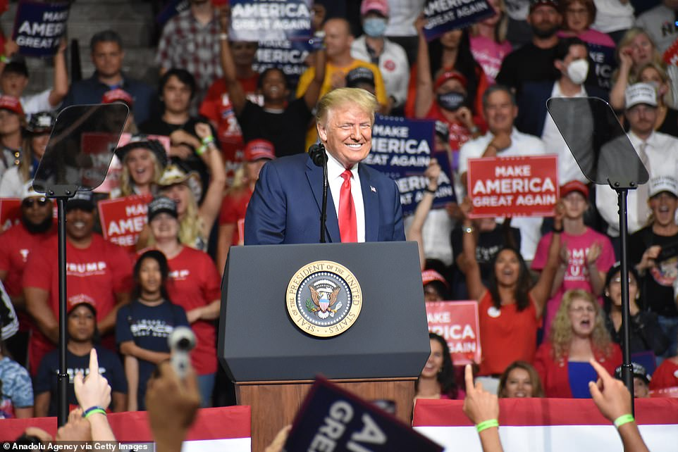 One public health official says the campaign rally President Donald Trump held in Tulsa, Oklahoma on June 20 (above) is likely to blame for the county's spike in coronavirus infections