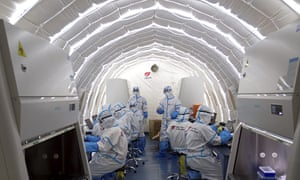 An inflatable Covid-19 testing lab in Beijing provided by BGI that is capable of running 30,000 nucleic acid test daily