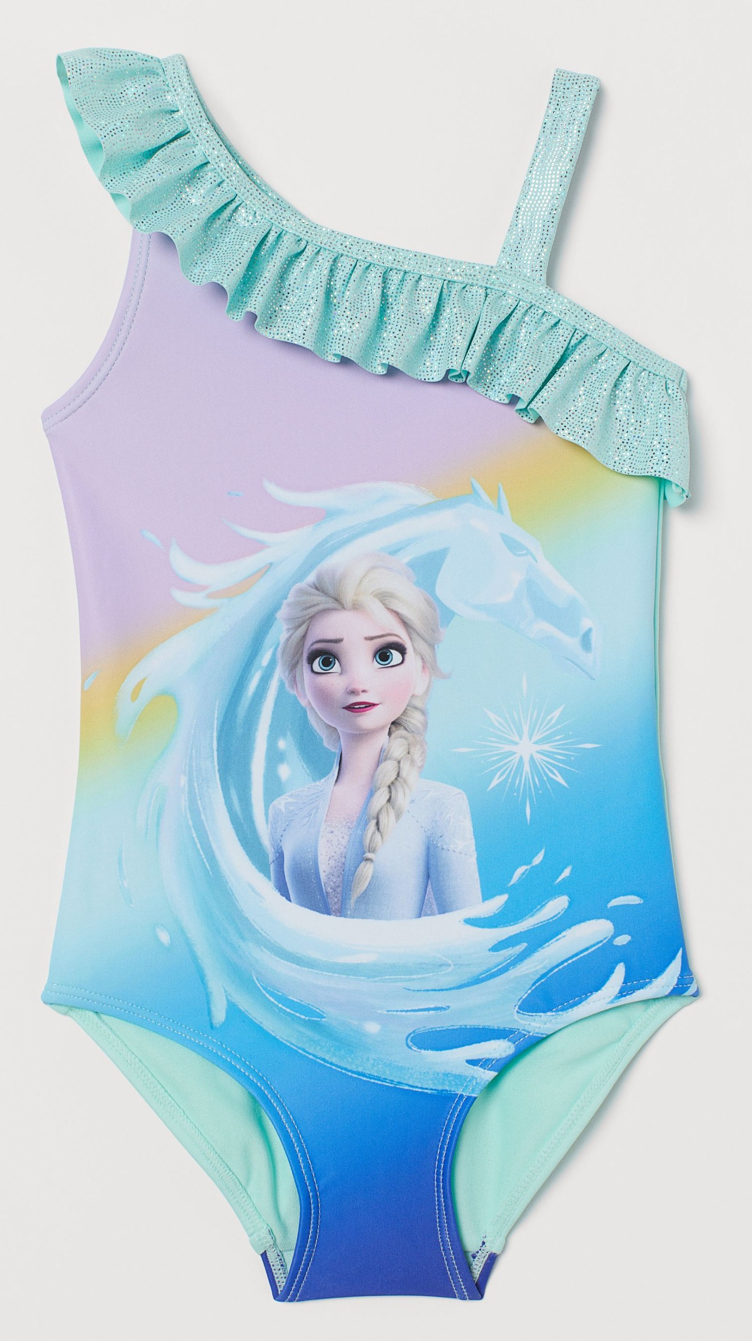 Kit your little Frozen fans out with a Frozen flounce-trimmed swimsuit, £9.99 at H&M