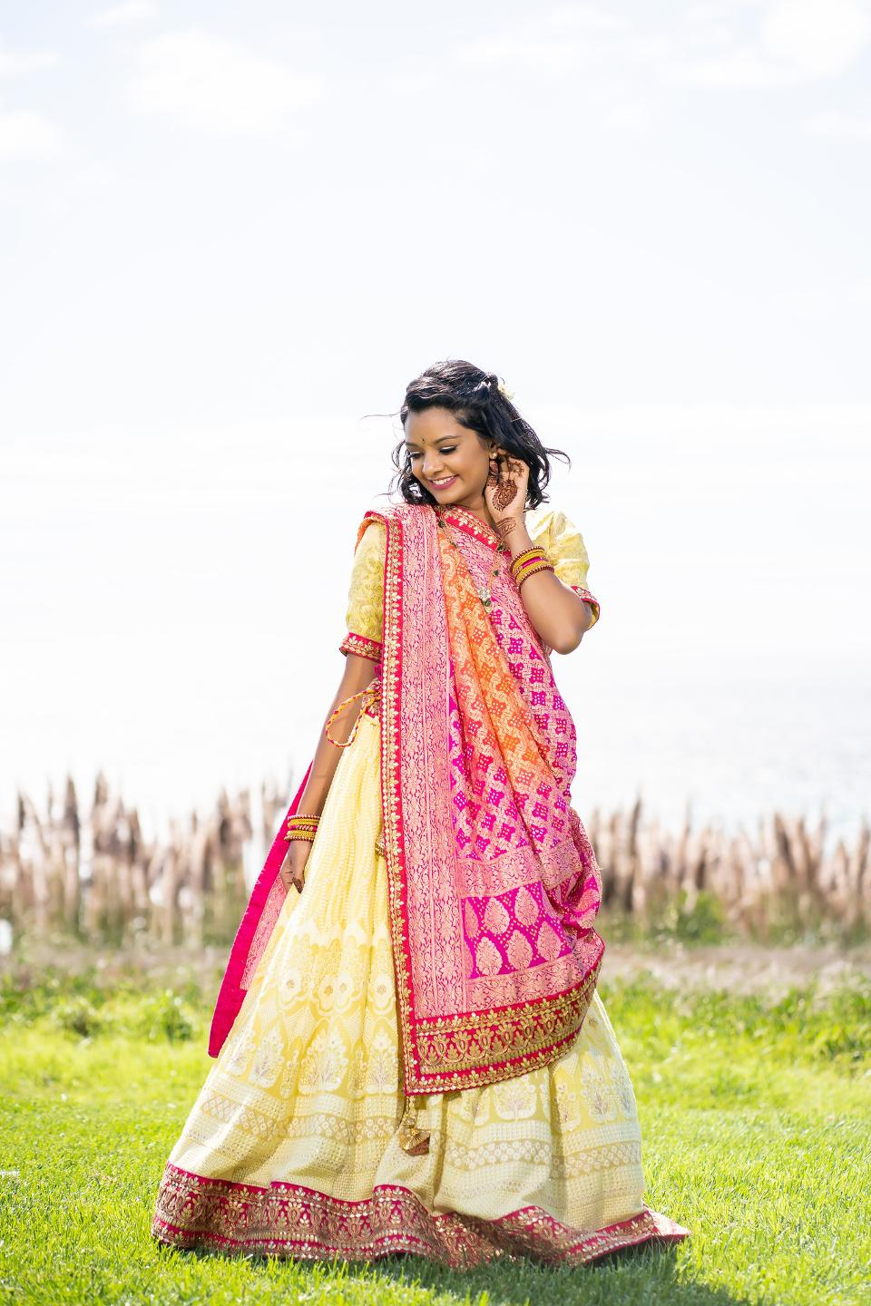 Amiti in another bright traditional dress.