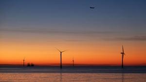 Wind turbines off Blyth in Northumberland.