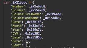 Skimmer parameters in malware