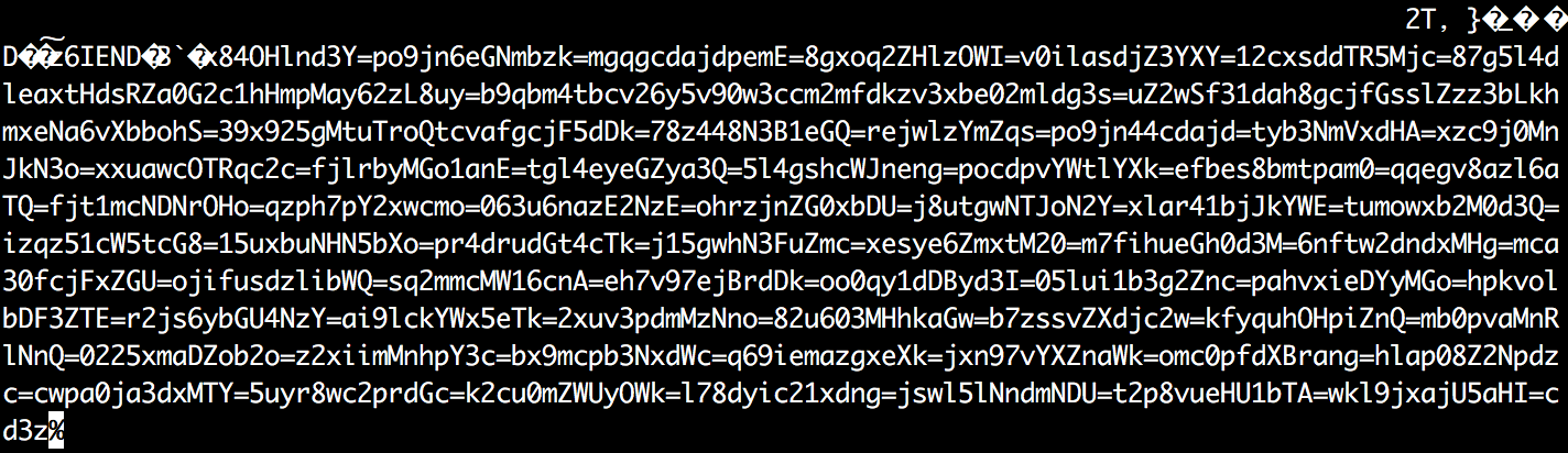 raw contents with encrypted text