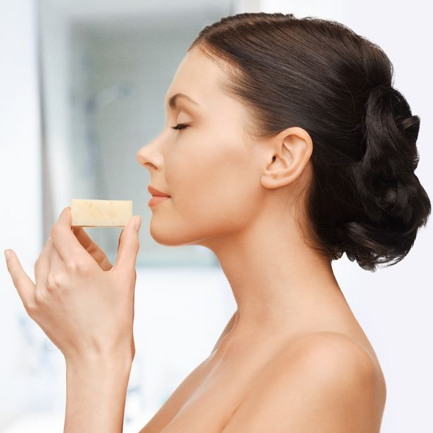 A beautiful woman with soap