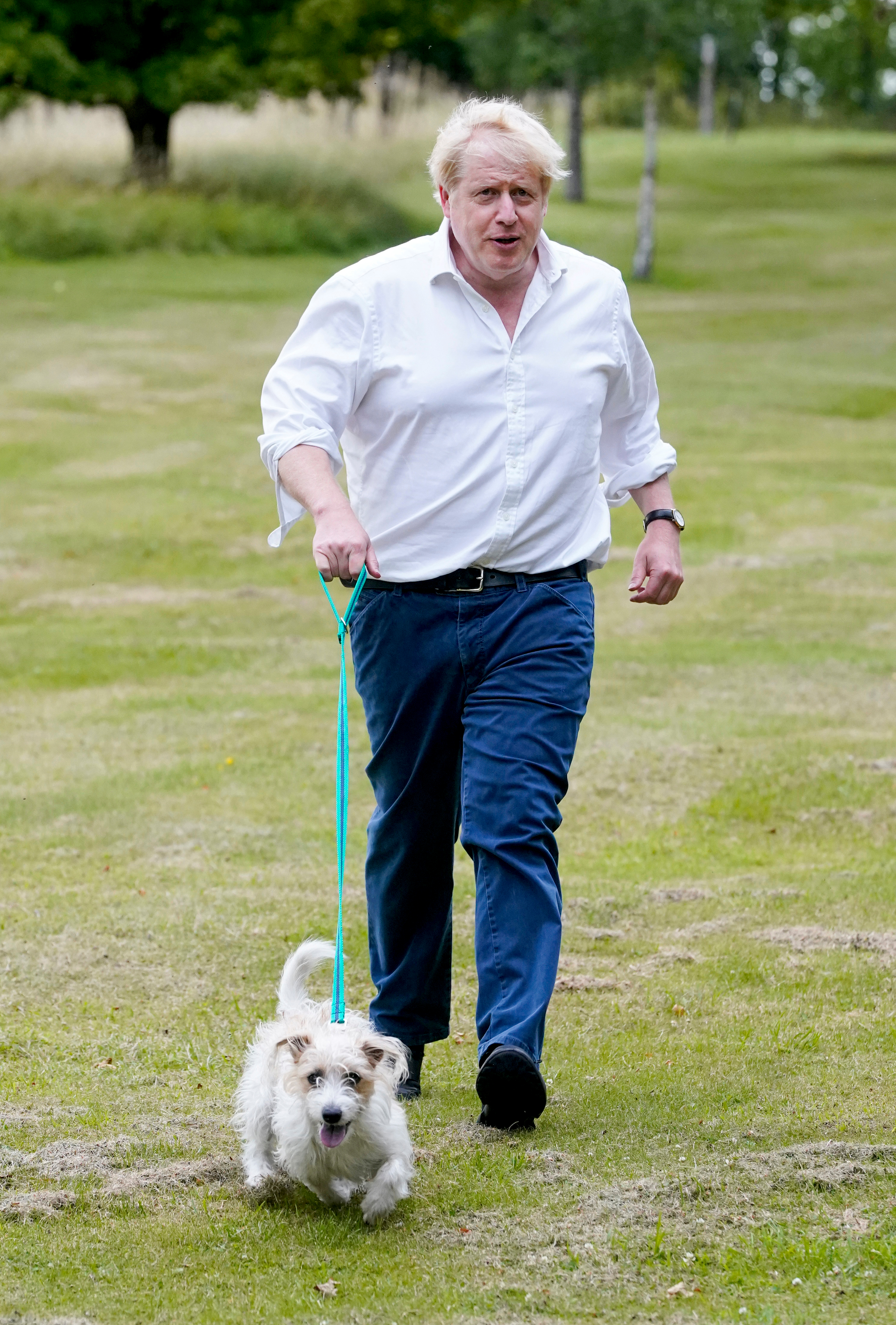 Boris out for a walk with his dog today to promote the new obesity strategy